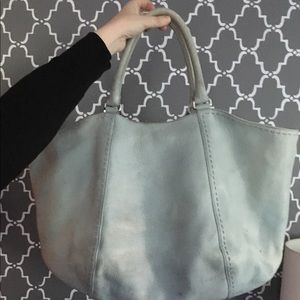 Baby Blue soft pebble leather extra large tote